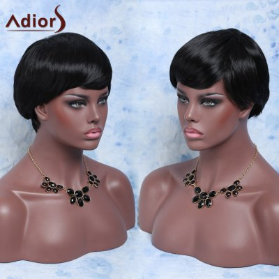 Short Fluffy Straight Neat Bang Pixie Cut Synthetic Capless Wig
