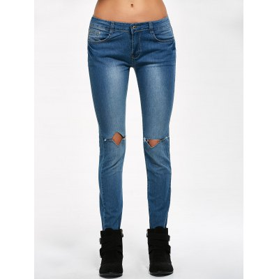 Low Rise Knee Ripped Jeans