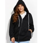 cheap Plus Size Zipper Up Pockets Design Hoodie