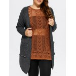 Plus Size Lace-Up Knitted Cardigan with Pockets