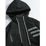 Pocket Striped Zippered Hooded Padded Jacket deal