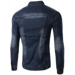 cheap Pockets Design Turn-Down Collar Long Sleeve Denim Jacket For Men