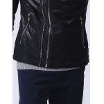 best Zippered Ribbed Pocket Faux Leather Jacket