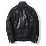 Zippered Ribbed Pocket Faux Leather Jacket for sale