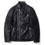 Zippered Ribbed Pocket Faux Leather Jacket deal