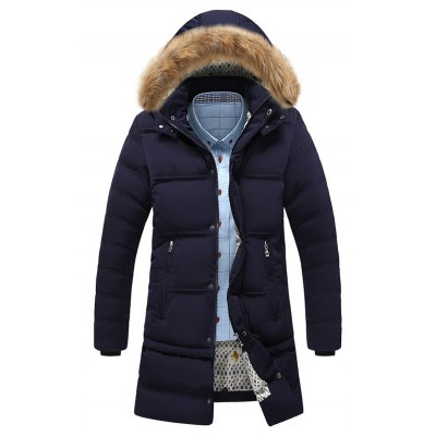 Pocket Faux Fur Hooded Padded Coat