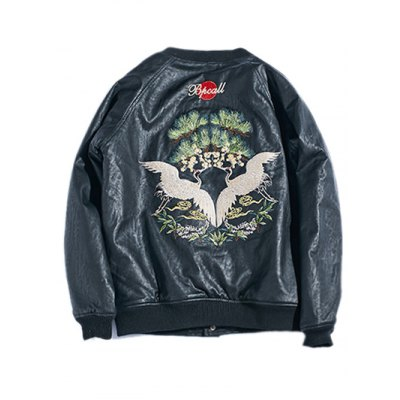 drop-shoulder-red-crowned-crane-embroidered-pu-leather-jacket
