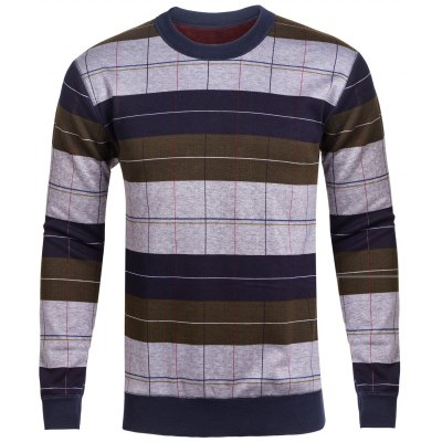 Crew Neck Stripe and Plaid Color Block Knitting Sweater