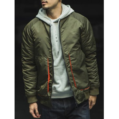 Stand Collar Drop Shoulder Pockets Design Padded Jacket