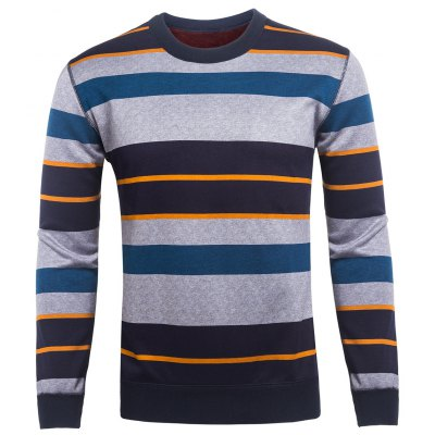 Crew Neck Color Block Striped Knitting Sweater