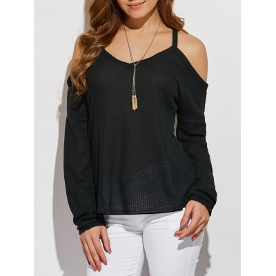 V Neck Cold Shoulder Asymmetric Pullover Sweater