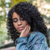 Medium Impressive Side Bang Black Afro Curly Women's Synthetic Hair Wig deal