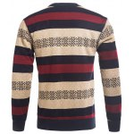 cheap Crew Neck Stripe and Graphic Knitting Sweater