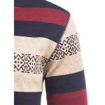 Crew Neck Stripe and Graphic Knitting Sweater for sale