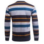 cheap Crew Neck Color Block Striped Knitting Sweater