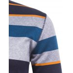 Crew Neck Color Block Striped Knitting Sweater for sale