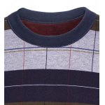 Crew Neck Stripe and Plaid Color Block Knitting Sweater deal