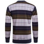 cheap Crew Neck Stripe and Plaid Color Block Knitting Sweater