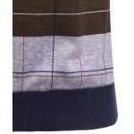 best Crew Neck Stripe and Plaid Color Block Knitting Sweater
