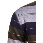 Crew Neck Stripe and Plaid Color Block Knitting Sweater for sale