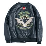 cheap Drop Shoulder Red Crowned Crane Embroidered PU Leather Jacket