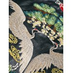 Drop Shoulder Red Crowned Crane Embroidered PU Leather Jacket deal