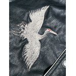 best Drop Shoulder Red Crowned Crane Embroidered PU Leather Jacket