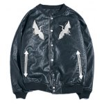Drop Shoulder Red Crowned Crane Embroidered PU Leather Jacket
