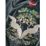 Drop Shoulder Red Crowned Crane Embroidered PU Leather Jacket for sale