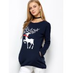 cheap Christmas Reindeer Drop Shoulder Tunic T-Shirt