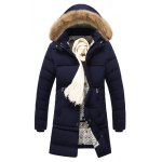 cheap Zip Pocket Faux Fur Hooded Padded Coat