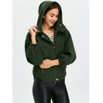 Lantern Sleeve Cropped Hooded Bomber Coat deal
