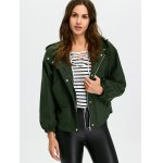 cheap Lantern Sleeve Cropped Hooded Bomber Coat