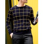 Slim Fit Crew Neck Grid Sweater deal