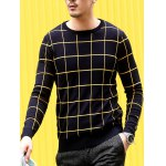cheap Slim Fit Crew Neck Grid Sweater