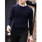 cheap Slim Fit Crew Neck Pullover Knitwear