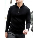 cheap Slim Fit Half Zip Polo Sweater