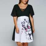 V Neck Backless Butterfly Skater Dress photo