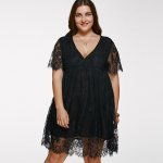 V Neck Plus Size Lace Short Dress With Sleeves photo