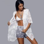 Openwork Row Edged Floral Lace Kimono Cover-Up photo