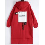 cheap Loose Patched Long Hoodie