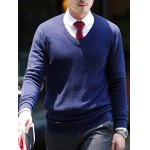 cheap Slim Fit Pullover V Neck Knitwear