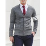 Slim Fit V Neck Striped Pocket Cardigan