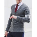 Slim Fit V Neck Striped Pocket Cardigan for sale