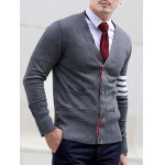 cheap Slim Fit V Neck Striped Pocket Cardigan