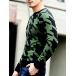 Slim Fit Round Neck Houndstooth Pullover Knitwear photo