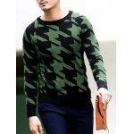 best Slim Fit Round Neck Houndstooth Pullover Knitwear