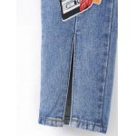 Slit Leg Low Rise Embroidery Jeans for sale