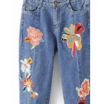 Slit Leg Low Rise Embroidery Jeans deal