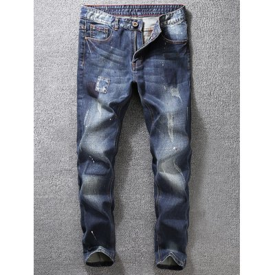 Tapered Fit Paint Splatter Scratched Patch Jeans